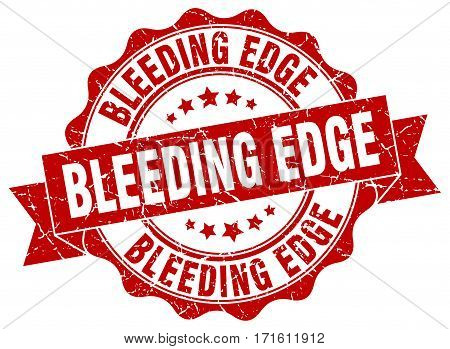 bleeding edge. stamp. sign. seal. round. retro. ribbon