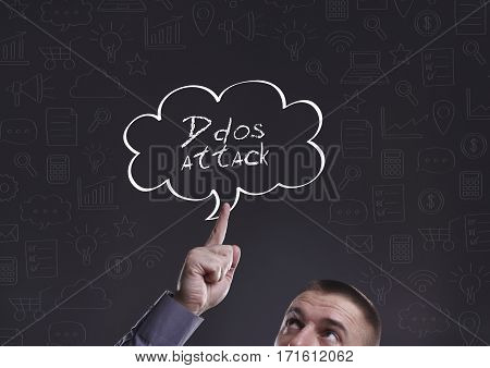 Business, Technology, Internet And Marketing. Young Businessman Thinking About: Ddos Attack