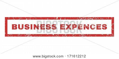 Business Expences text rubber seal stamp watermark. Caption inside rectangular banner with grunge design and scratched texture. Horizontal vector red ink sign on a white background.
