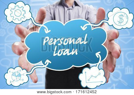 Business, Technology, Internet And Marketing. Young Businessman Thinking About: Personal Loan
