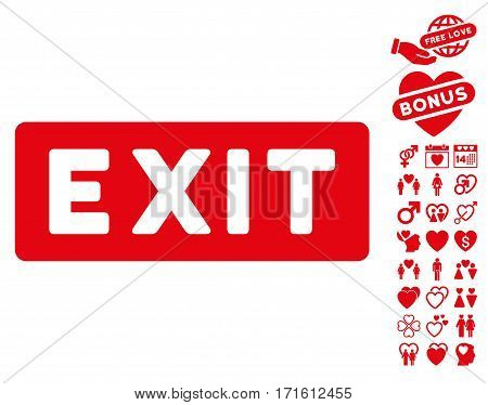 Exit Label pictograph with bonus decorative pictograph collection. Vector illustration style is flat iconic red symbols on white background.