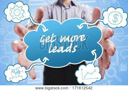 Business, Technology, Internet And Marketing. Young Businessman Thinking About: Get More Leads