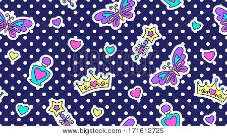 little princess seamless pattern, cute texture for girls