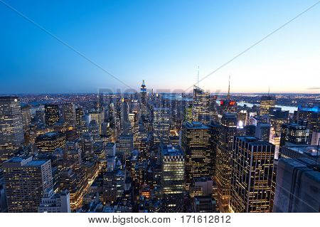 NEW YORK CITY - APRIL 1: Cityscape view of Manhattan, New York City, USA at night,  in New York, USA