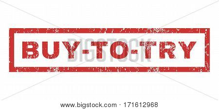 Buy-To-Try text rubber seal stamp watermark. Tag inside rectangular shape with grunge design and dust texture. Horizontal vector red ink sign on a white background.