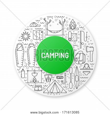 Vector linear icons on the topic of camping and Hiking in the wild, forest, lake, mountains, painted in a linear style.