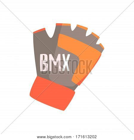 Gloves With Fingers Cut Off For Better Grip, Part Of BMX Rider Ammunition And Equipment Set Isolated Object. Cartoon Realistic Sport Related Item Vector Illustration