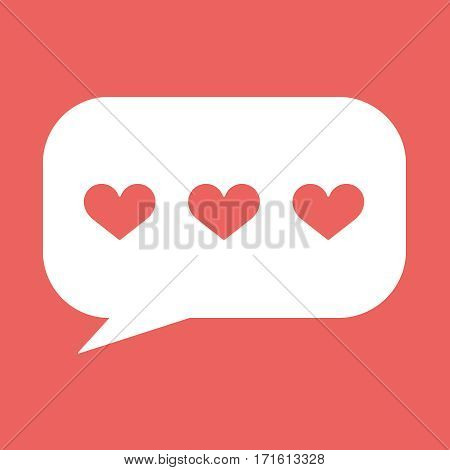 Hearts in speech bubble flat icon. Vector illustration EPS10