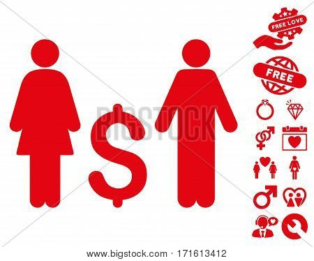 Family Dollar icon with bonus love images. Vector illustration style is flat iconic red symbols on white background.
