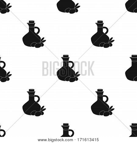 Olive oil bottle with black olives branch icon in black style isolated on white background. Greece pattern vector illustration.