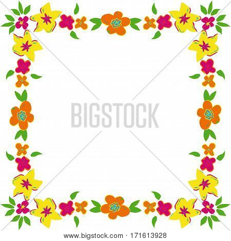 Scalable vectorial image representing a floral frame with spring flowers, isolated on white.