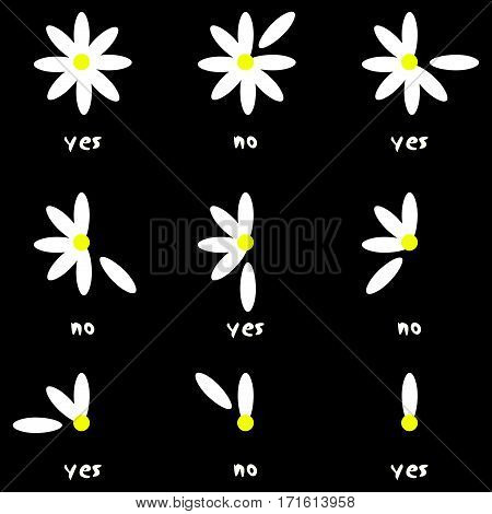 Scalable vectorial image representing a flower love nature remove no yes daisy, isolated on white.