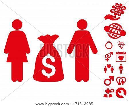 Family Money Deposit icon with bonus passion design elements. Vector illustration style is flat iconic red symbols on white background.