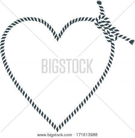 Scalable vectorial image representing a heart shape made with rope, isolated on white.