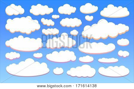 Colour clouds isolated on blue sky background set. Collection of cloud icon, shape, label, symbol for your design. Graphic design element for logo, web and print. Vector illustration