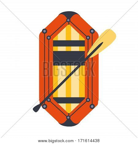 Yellow And Red Inflatable Dinghy With Peddle, Part Of Boat And Water Sports Series Of Simple Flat Vector Illustrations. River Boating Sportive Equipment Piece Isolated Item On White Background.
