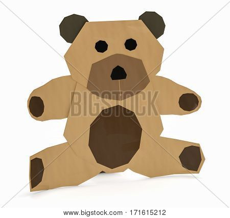 little bear made with paper on white background (3d render)