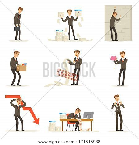 Business Fail And Manager Suffering Loss And Being In Debt Set Of Bankruptcy And Company Failure Vector Illustrations. Businessman Failing And Being Devastated Series OF Cartoon Character Work Misfortunes.