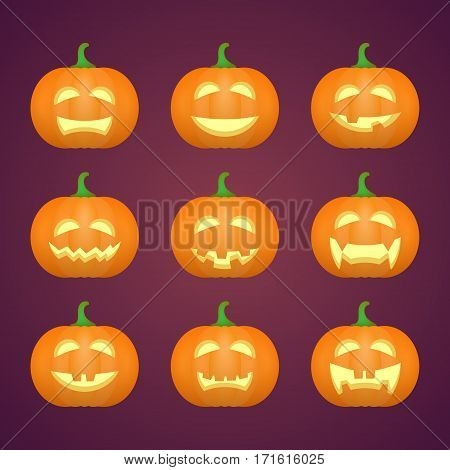 Halloween carved pumpkins. Carved face emotions set. Vector illustration