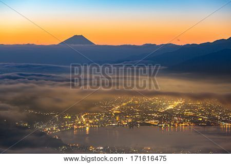 aerial Mount Fuji with Suwako Lake sunrise Takabochi
