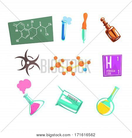 Chemist Scientist And Chemical Science Related Icons And Laboratory Experimental Equipment. Cartoon Realistic Chemistry Related Item Vector Illustration