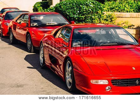 Ferrari show 8 october 2016 in Valletta Malta. Front view of red Ferraries near Grand Hotel Excelsior