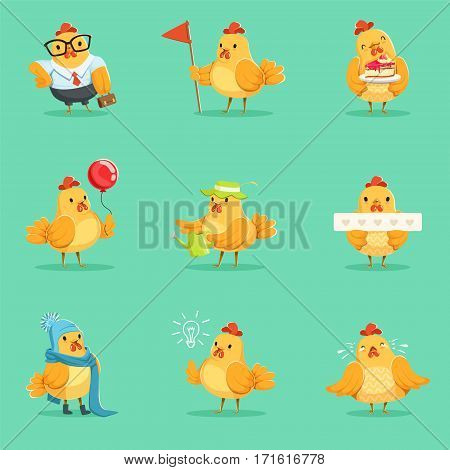 Little Yellow Chicken Chick Different Emotions And Situations Series Of Cute Emoji Illustrations. Humanized Farm Baby Bird Activities Cartoon Vector Stickers.