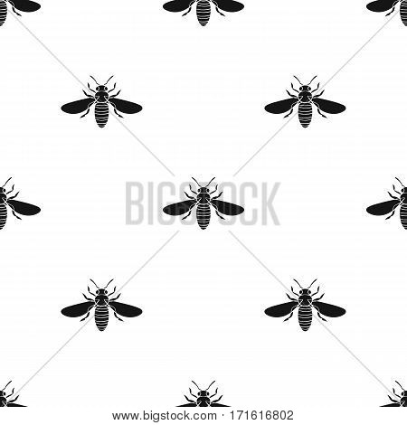 Bee icon in black design isolated on white background. Insects pattern stock vector illustration.
