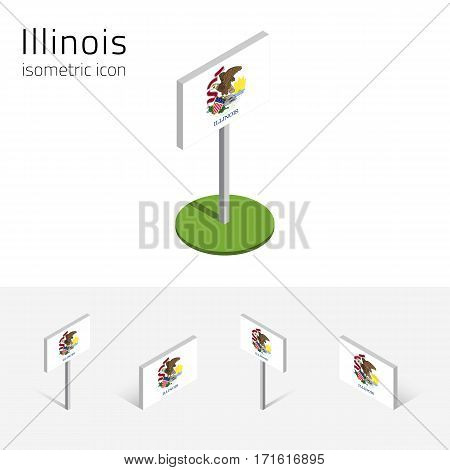 Flag of Illinois (State of Illinois, USA), vector set of isometric flat icons, 3D style, different views. Editable design element for banner, website, presentation, infographic, poster, map, collage