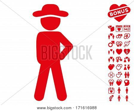 Gentleman Audacity icon with bonus romantic pictures. Vector illustration style is flat iconic red symbols on white background.