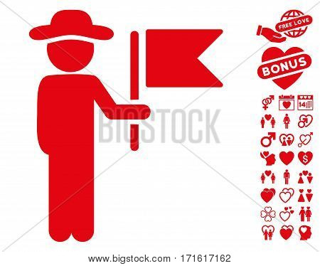 Gentleman Commander pictograph with bonus passion pictures. Vector illustration style is flat iconic red symbols on white background.