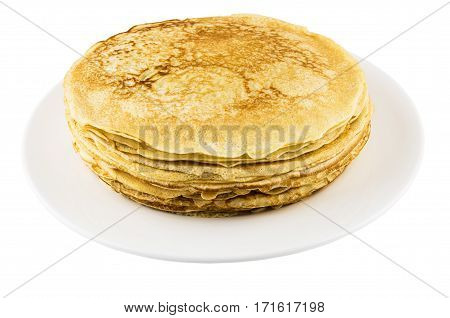 Stack Of Russian Pancakes In Glass Dish Isolated On White