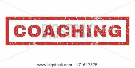 Coaching text rubber seal stamp watermark. Tag inside rectangular shape with grunge design and dust texture. Horizontal vector red ink emblem on a white background.