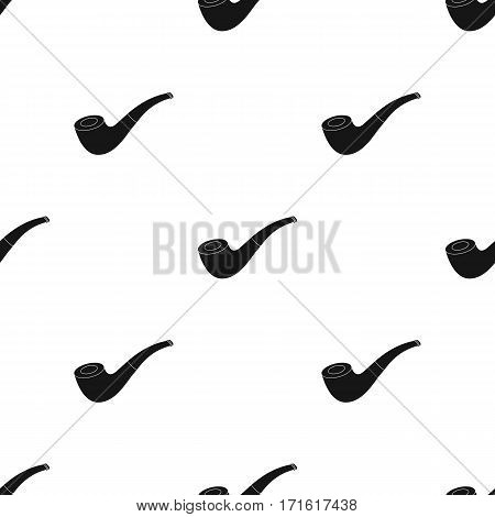 Tobacco pipe icon in black style isolated on white background. Pirates pattern vector illustration.
