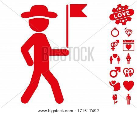 Gentleman Flag Guide pictograph with bonus lovely graphic icons. Vector illustration style is flat iconic red symbols on white background.
