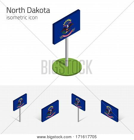 Flag of North Dakota (State of North Dakota, USA), vector set of isometric flat icons, 3D style. Editable design element for banner, website, presentation, infographic, poster, map, collage