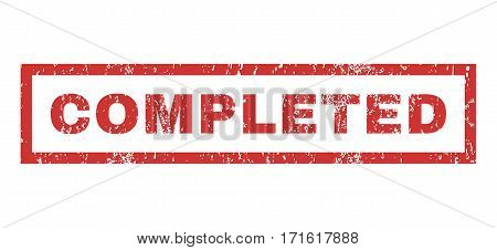 Completed text rubber seal stamp watermark. Tag inside rectangular banner with grunge design and unclean texture. Horizontal vector red ink sticker on a white background.