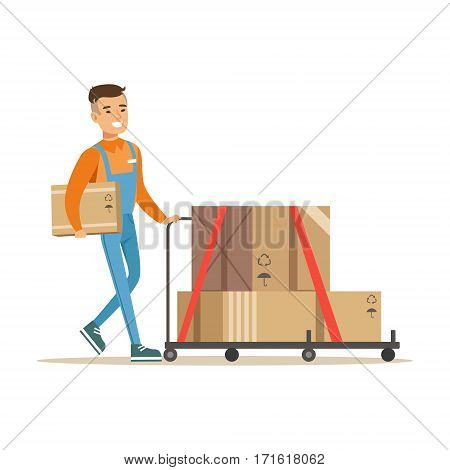 Delivery Service Worker Pushing Loaded Cart, Smiling Courier Delivering Packages Illustration. Vector Cartoon Male Character In Uniform Carrying Packed Objects With A Smile.