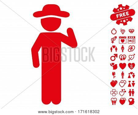 Gentleman Opinion pictograph with bonus valentine icon set. Vector illustration style is flat iconic red symbols on white background.