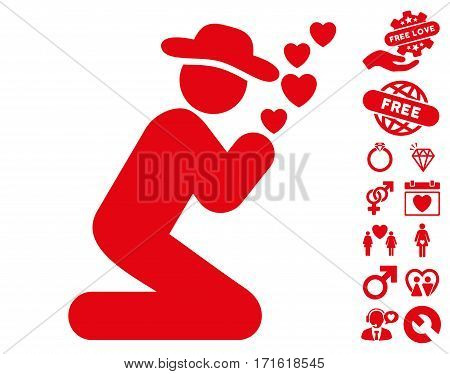 Gentleman Pray icon with bonus passion design elements. Vector illustration style is flat iconic red symbols on white background.