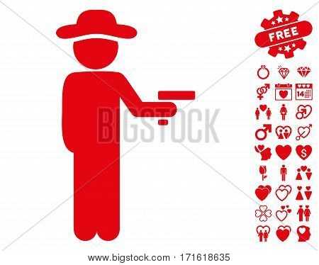 Gentleman Robber icon with bonus decorative clip art. Vector illustration style is flat iconic red symbols on white background.