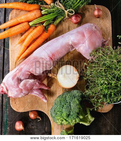 Raw Rabbit With Vegetables