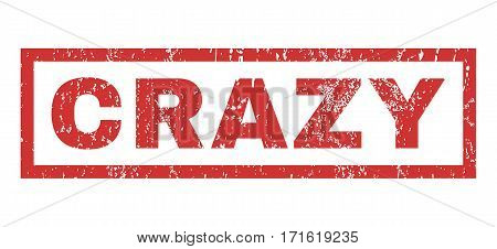 Crazy text rubber seal stamp watermark. Caption inside rectangular banner with grunge design and unclean texture. Horizontal vector red ink sign on a white background.