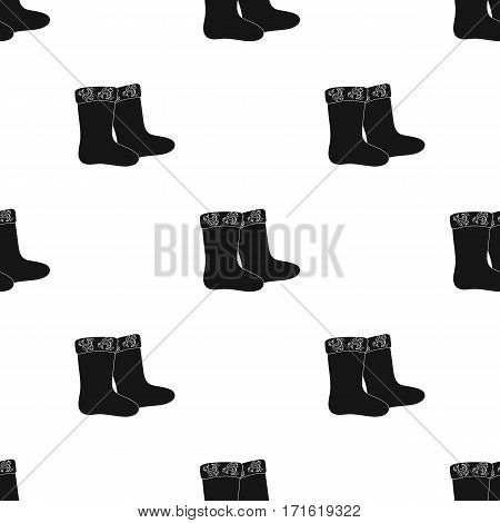 Winter felt boots icon in black design isolated on white background. Russian country pattern stock vector illustration.