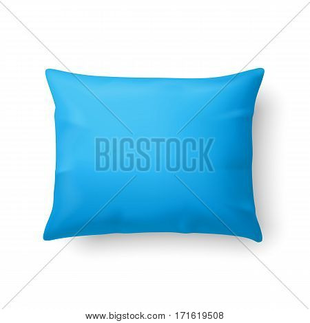 Close Up of a Classic Cyan Pillow Isolated on White Background
