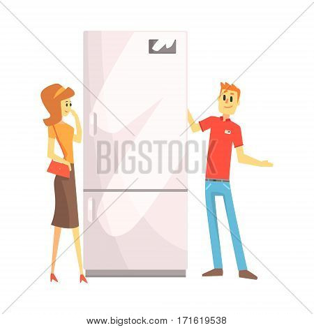 Woman Choosing Fridge With Shop Assistant Help, Department Store Shopping For Domestic Equipment And Electronic Objects For Home. Satisfied Customer In Shopping Mall With Newly Bought Home Appliances.