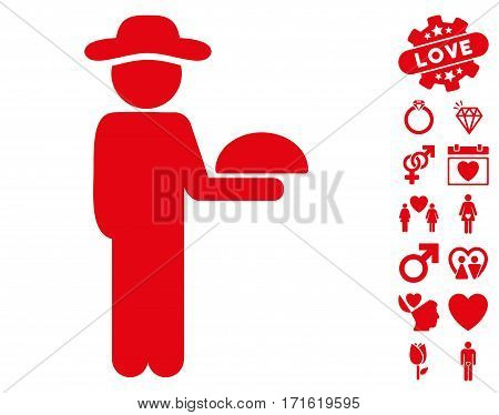 Gentleman Waiter pictograph with bonus marriage icon set. Vector illustration style is flat iconic red symbols on white background.