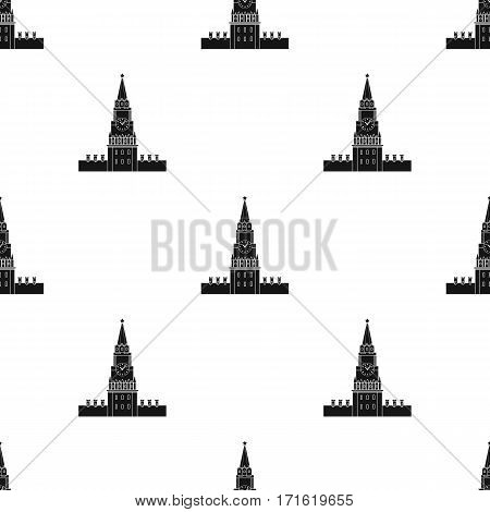 Kremlin icon in black design isolated on white background. Russian country pattern stock vector illustration.