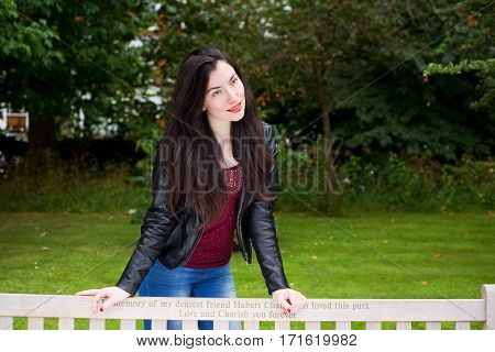 portrait of a young woman in the park