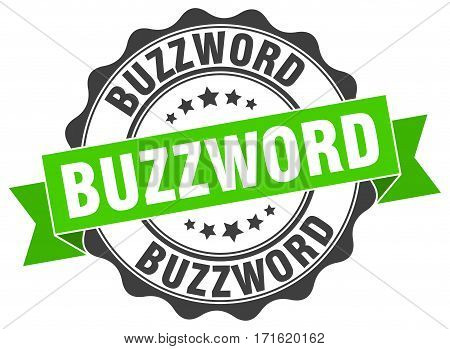 buzzword. stamp. sign. seal. round. retro. ribbon